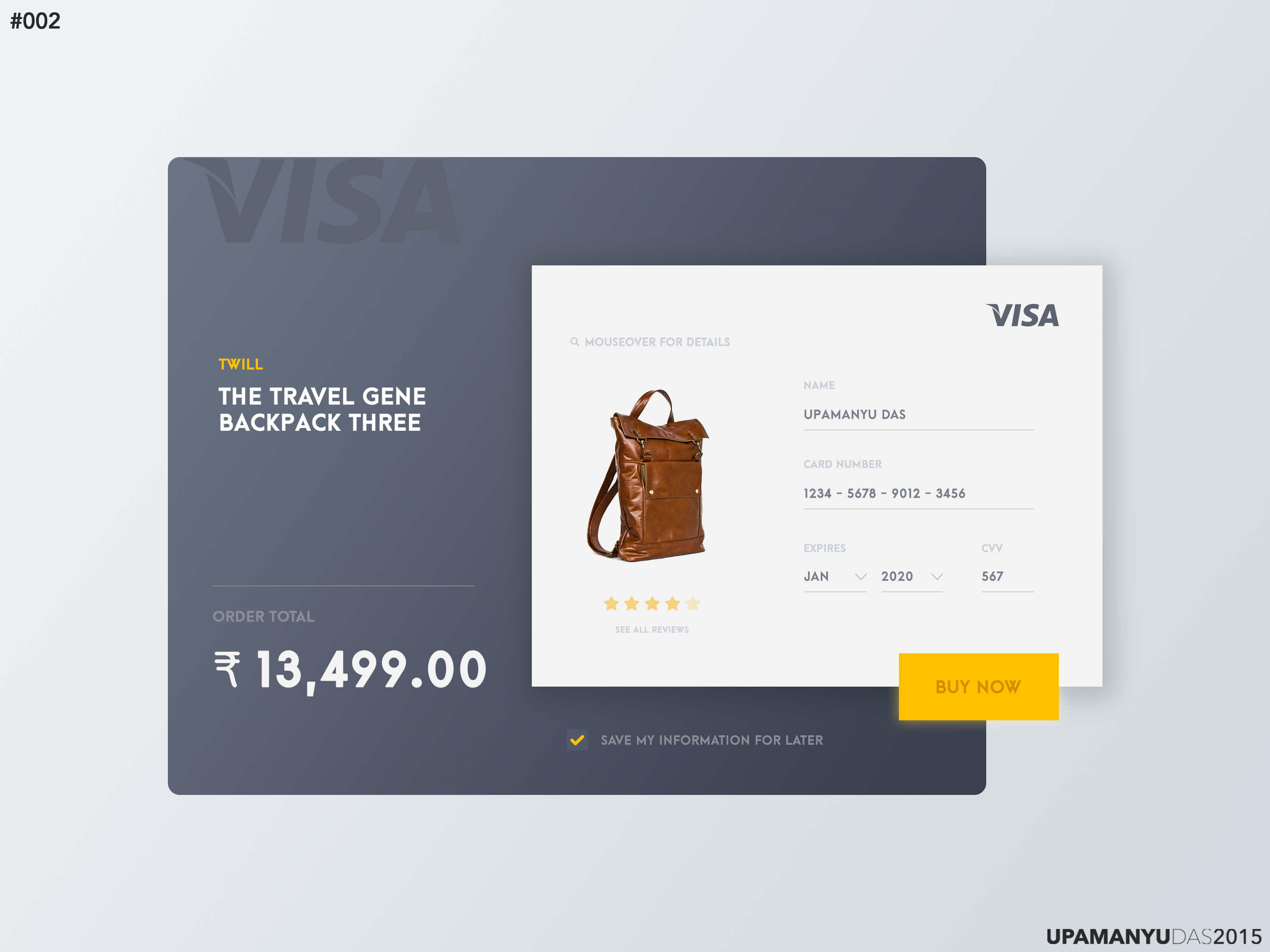 Daily UI Challenge, Day 002 - Credit Card Checkout